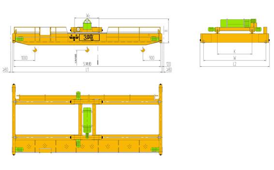 3t葫芦双梁起重机|3吨双梁天车|3吨双梁行车|3吨双梁行吊)