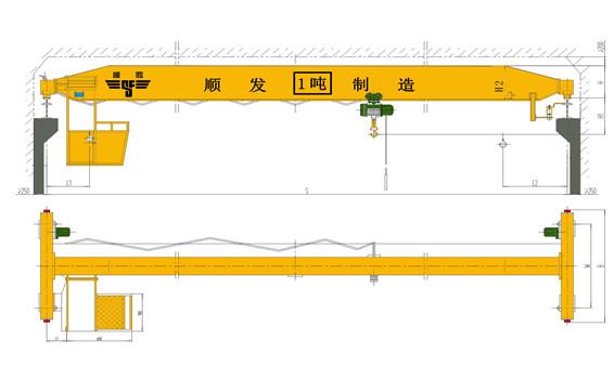 1吨(1t)单梁桥式起重机(1吨天车、1吨行吊、1吨行车)
